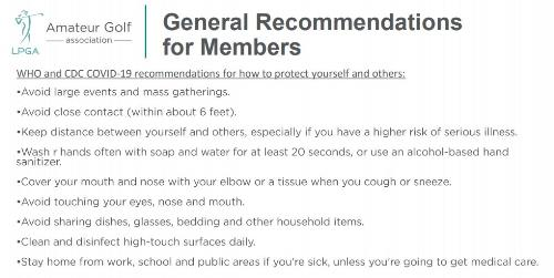 Covid19 Recommendations for Members
