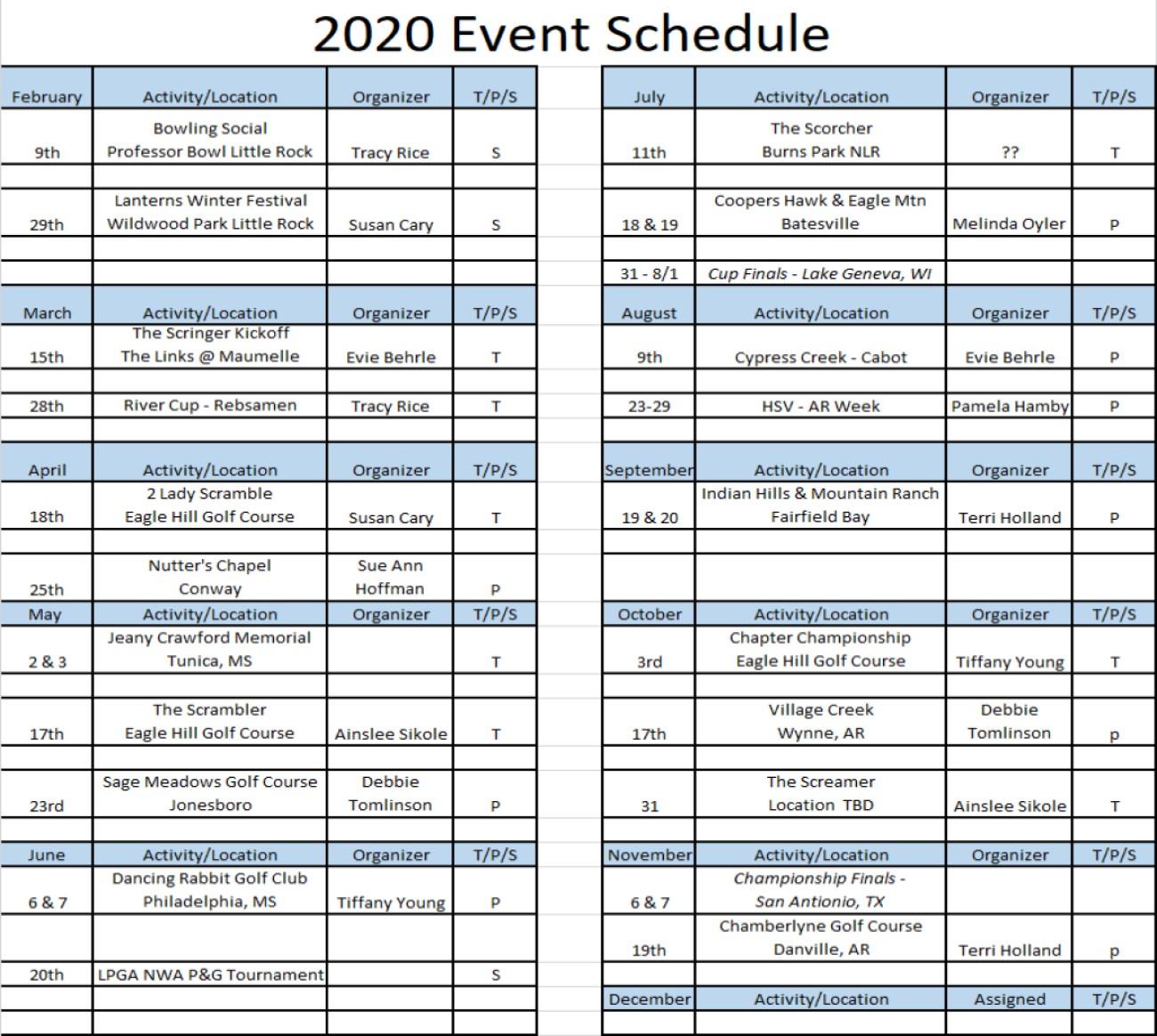 2020 events schedule