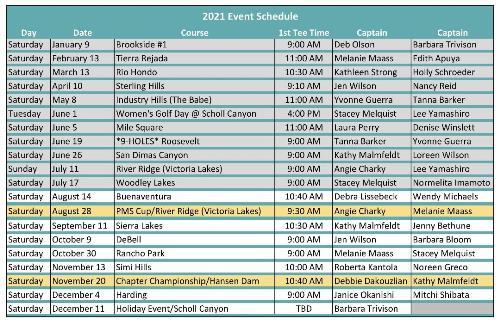 2021 Event Schedule for TTT_JUL27