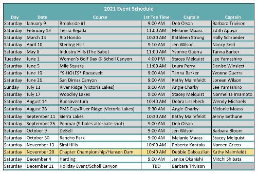 2021 Event Schedule for TTT_OCT11