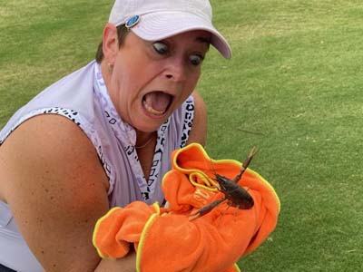 Kelly Campbell Saving a Fiesty Crawfish