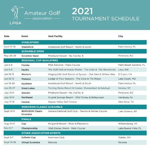 LPGA Amateur Golf Association 2021 Tournament Schedule