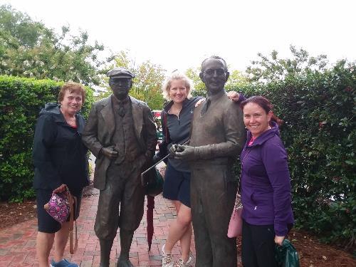 Pinehurst Statues with Team Members - July 8, 2021